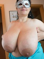 Shy mom Julia wears tight blue shirt which you can see her erected nipples through. As she told us,