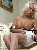 Leggy Lana seduces her tv repair man in her silky nylons, then he licks her wet pussy, and she ends