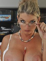 ass big tits blonde high heels office stockings Vicky Vette