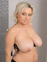 Sindy Huga - Blonde and busty 44 year old Sindy Huga getting off in the bathtub