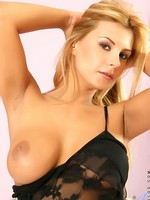 Pierced pussied blonde Anilos cougar masturbates with an extremely long pink vibrator